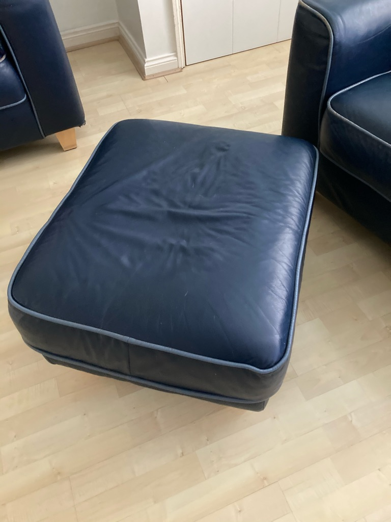 Navy blue leather sofa ,chair and footrest