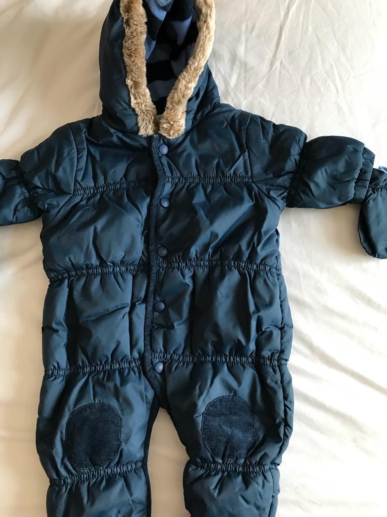 0-3 Months Boys Snowsuits & Wooly Hat