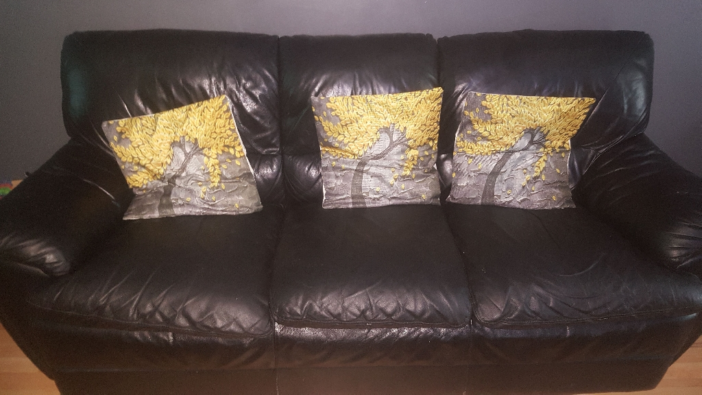 Black leather sofas 2 and 3