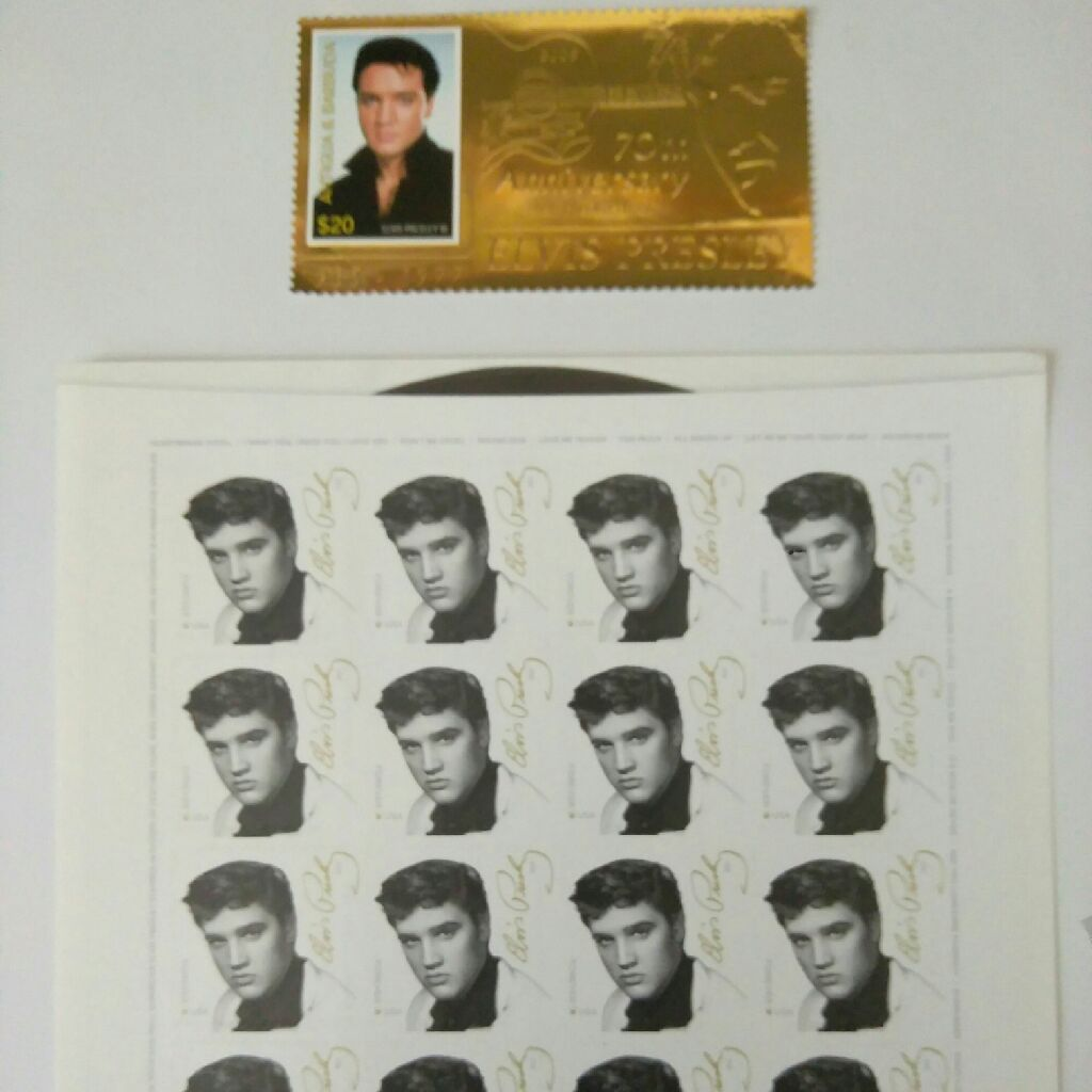 70th Anniversary of the birth of Elvis Presley one stamps in gold 1977 from Antigua & Barbuda plus a block of 16 stamps forever U.S.