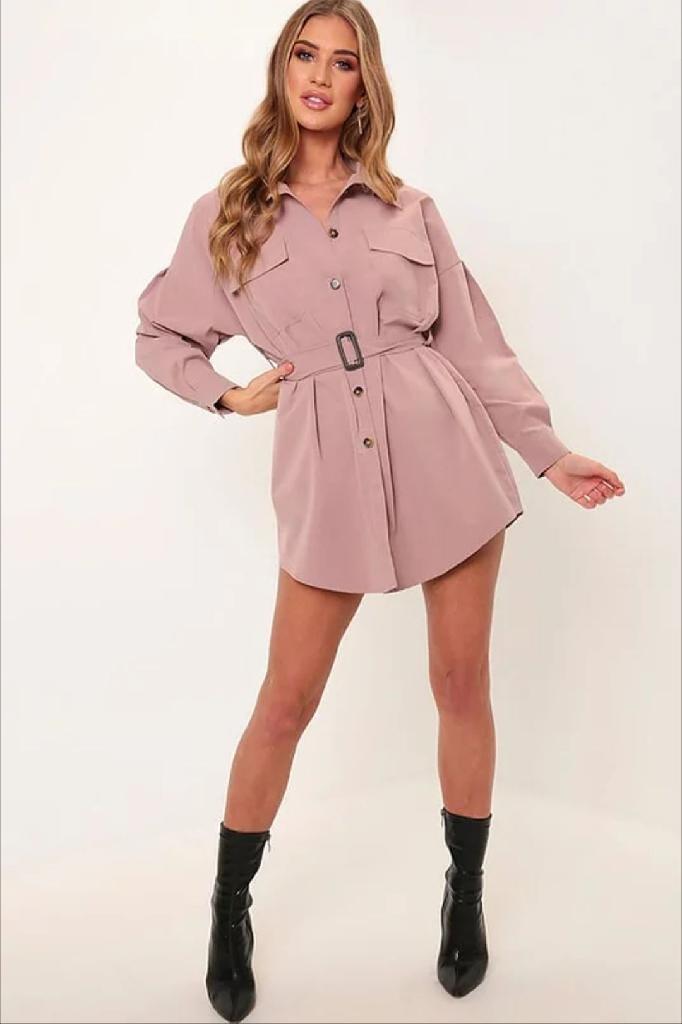 Pink Drop Shoulder Belted Oversized Shirt Dress