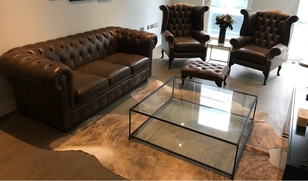 Brown Leather Chesterfield Three Piece Suite With Footstool