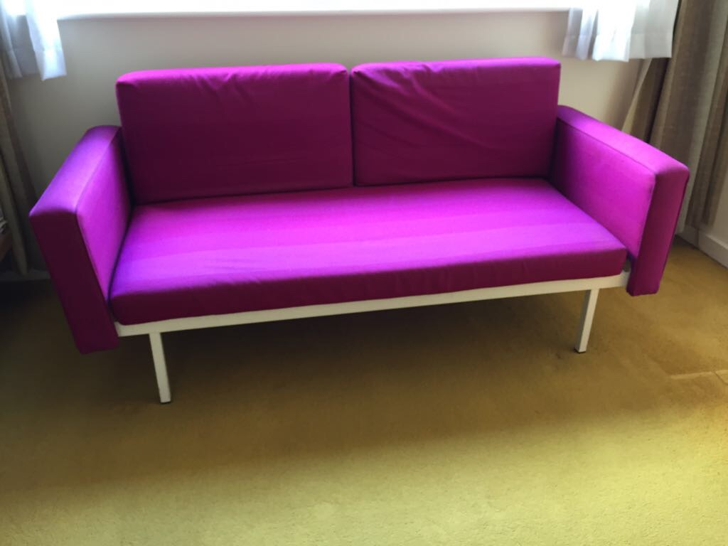 2 x 2 seater sofas  L160cm x D80 x H 76 that collapse down to single beds