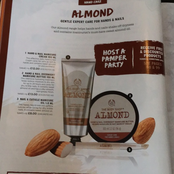 The body shop almond care for hands and nails