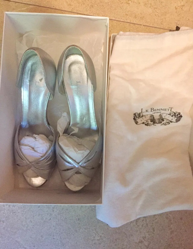 LK Bennett kitten heel silver sandal size 4 worn once