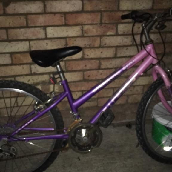 girls pink and purple bike