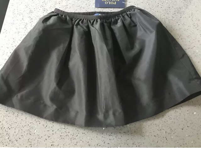 RALPH LAUREN Lovely Quality Satiny Black Taffeta Lined Skirt Age/Size 6 NWT $45