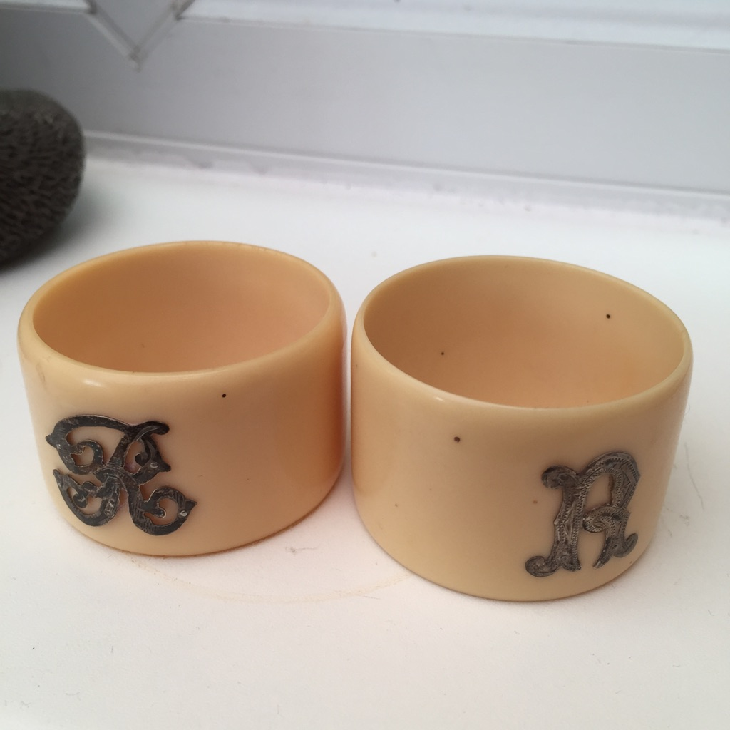 Vintage Bone and Silver Plate Napkin Rings
