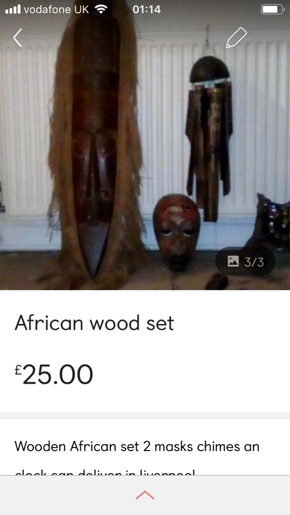 Wooden African mask set