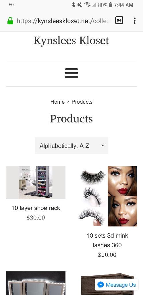 Shopify store kynsleeskloset.net