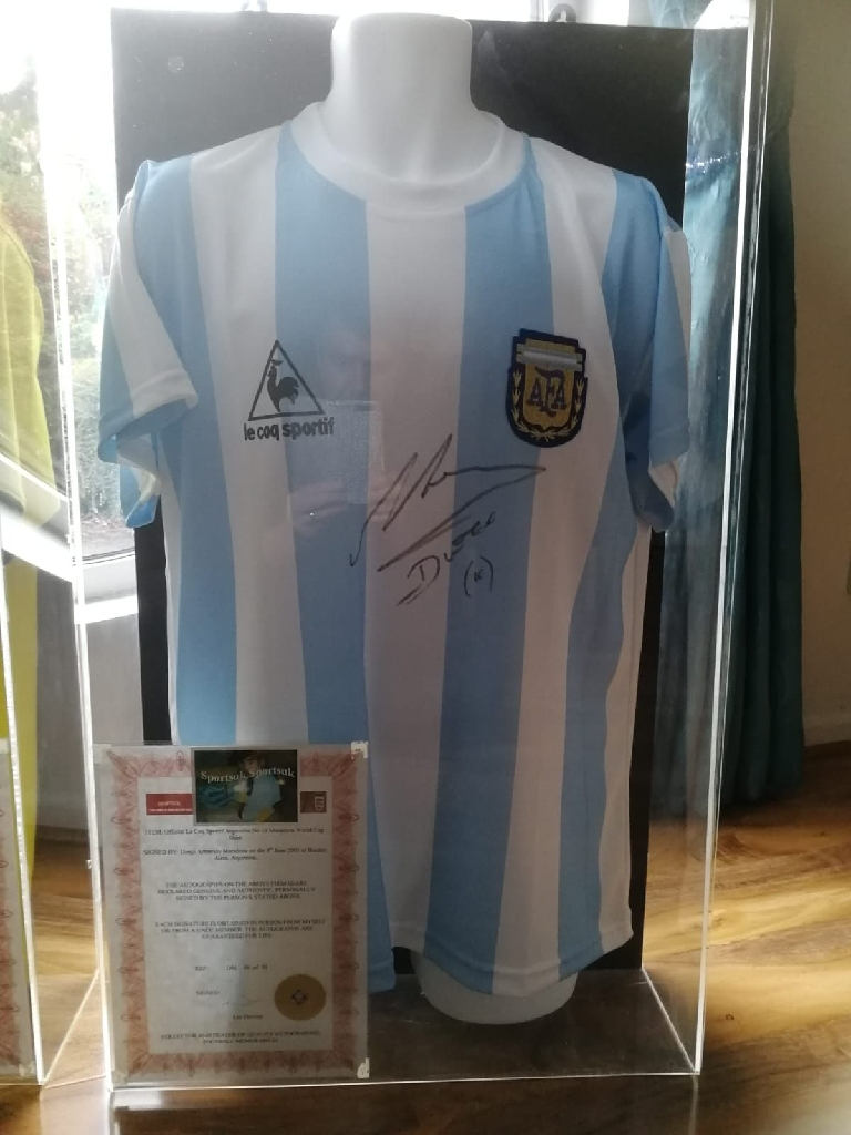 Authentic Signed Pele and Maradona Football Shirts