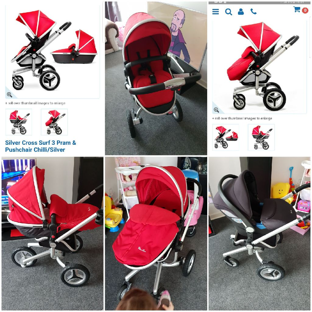 Silvers Cross surf 3 Chilli Red Buggy Pram and Car Seat
