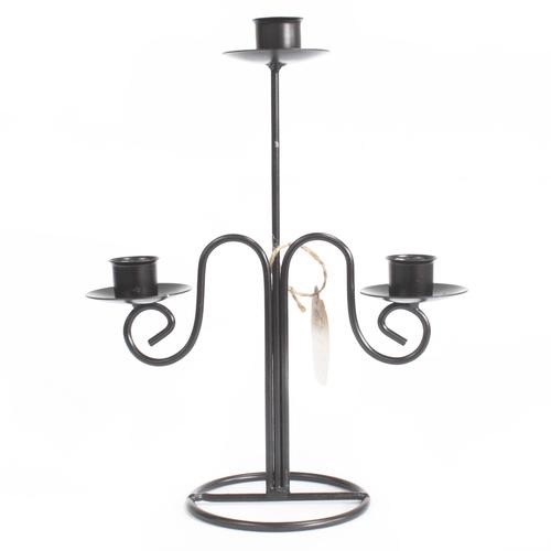 Iron candle holder- tri stick elegant