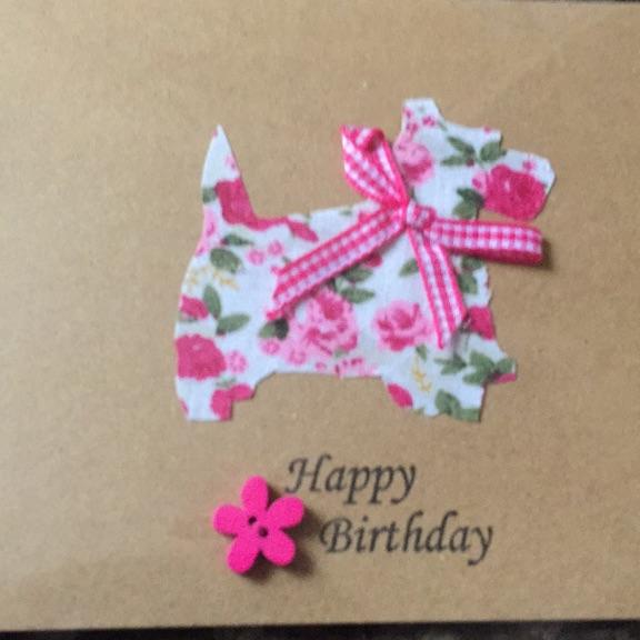 Fabric Scottie dog birthday card