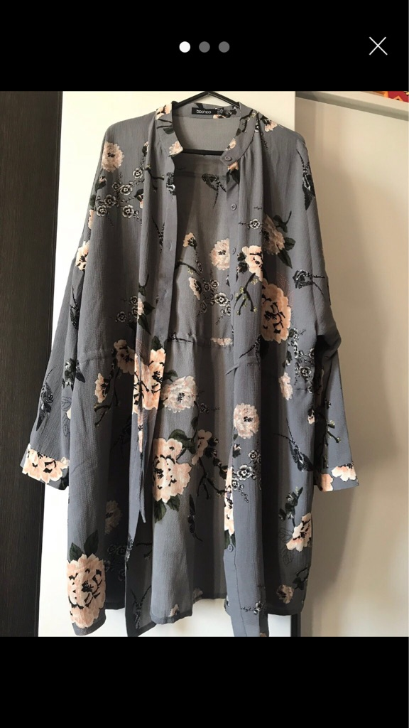 Floral grey shirt dress