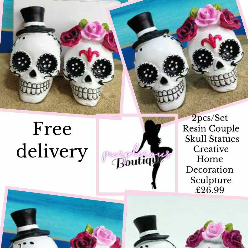 2pcs/Set Resin Couple Skull Statues Creative Home Decoration Sculpture