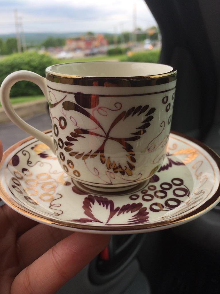 1910 gold tea cup and saucer