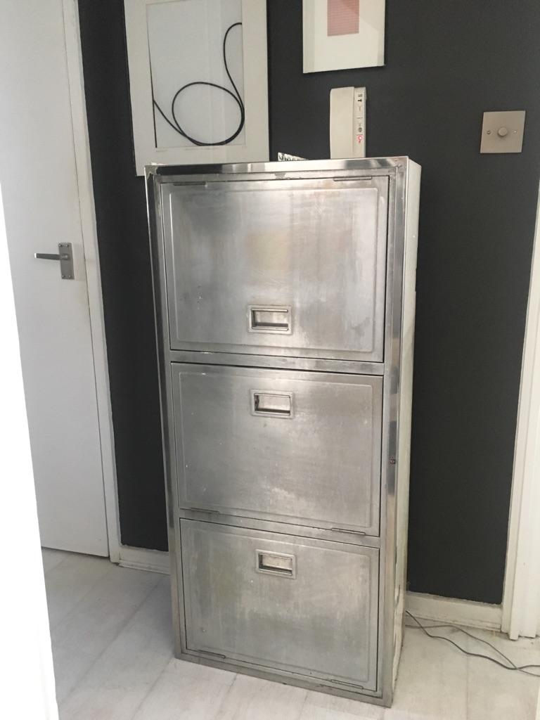 ORIGINAL Retro Aluminium Steel Cabinet - good condition