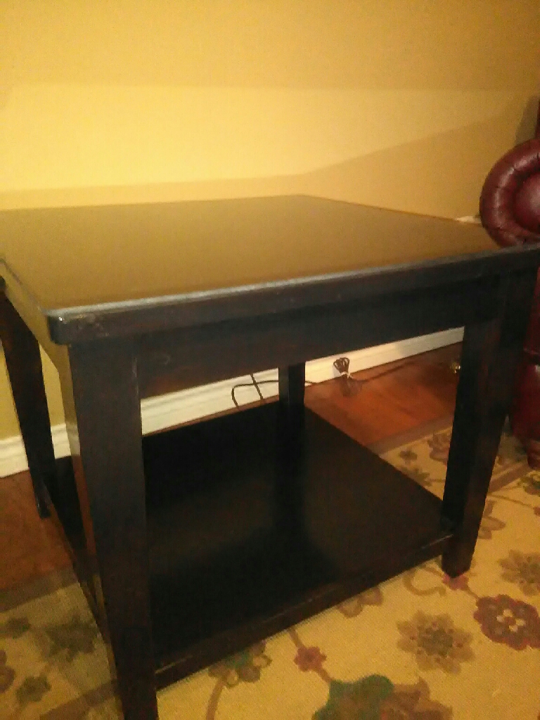Large Dark Wood Glass Top End Table