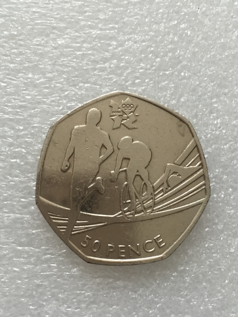 50p coin triathlon Olympic Games London 2011.