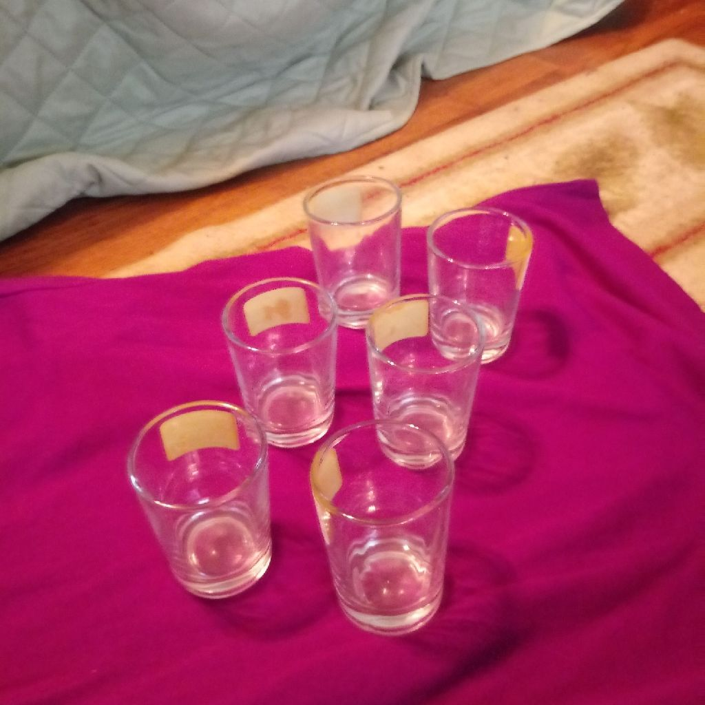 6 small clear shot glasses