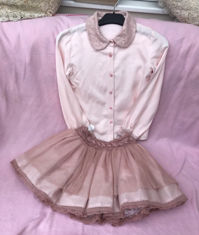 Pink and peach top and skirt