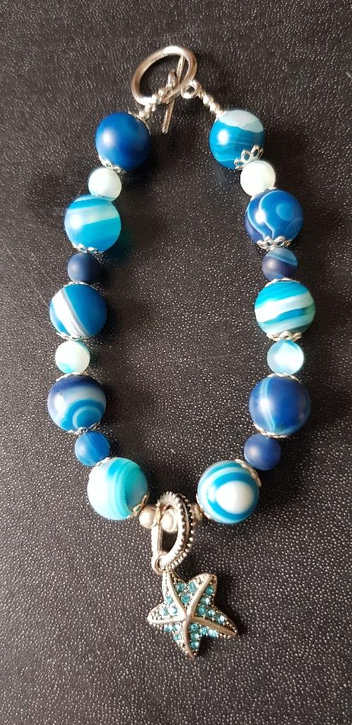 Handmade blue onyx jewellery set