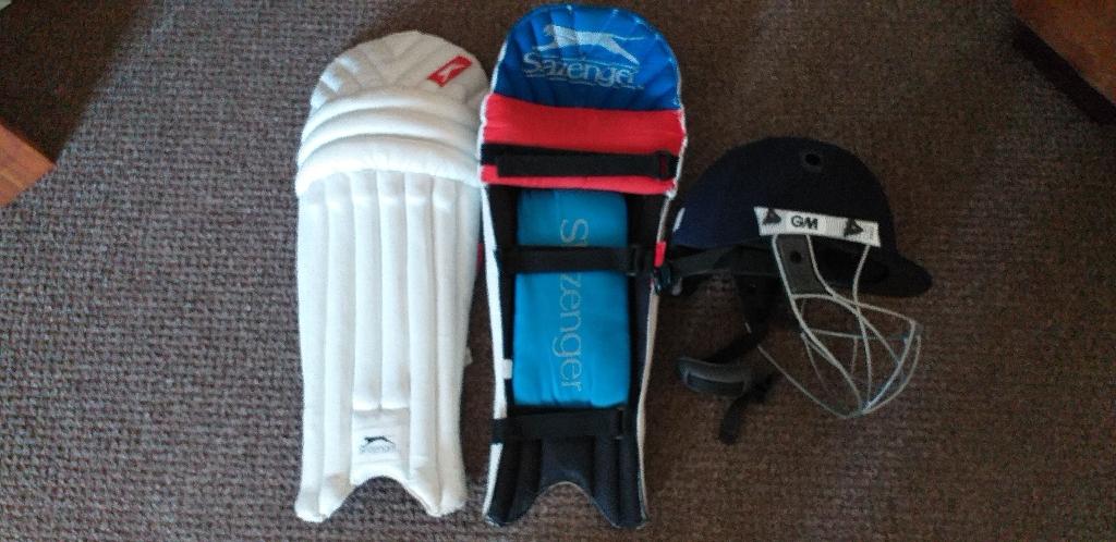 GM cricket Helmet and Slazenger Pads