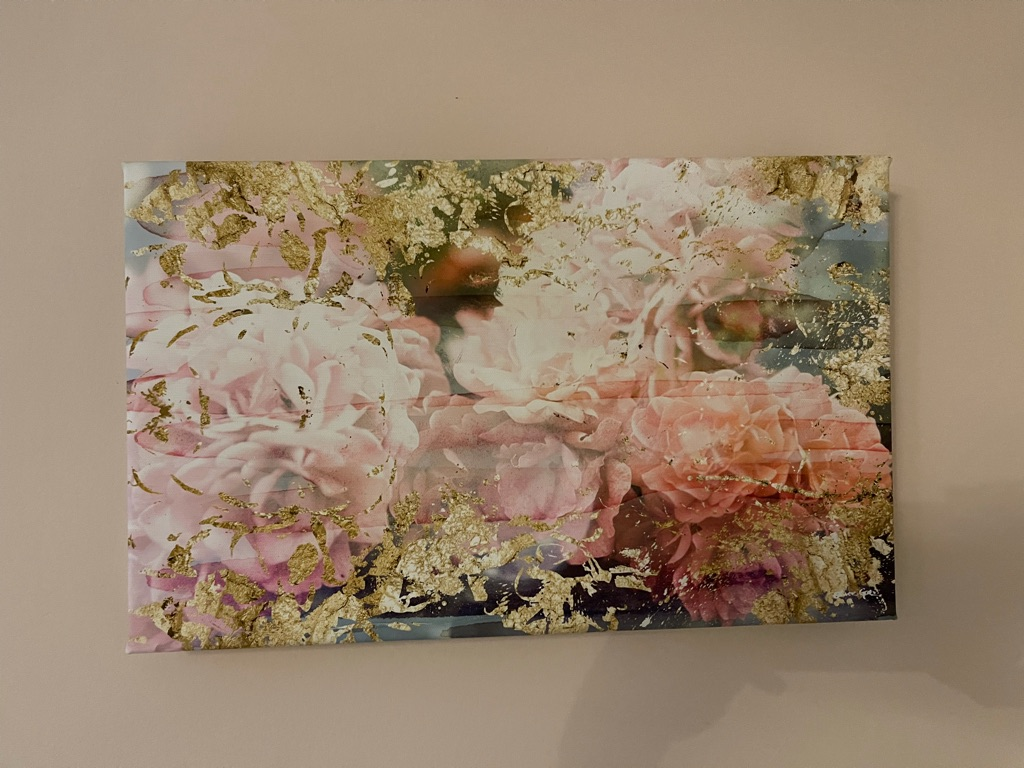 Oliver Gal Vibrant Pink Floral and Gold Fine Canvas Art