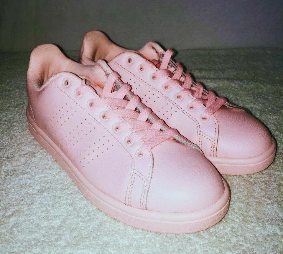 Peach Adidas NEO woman leather sneakers