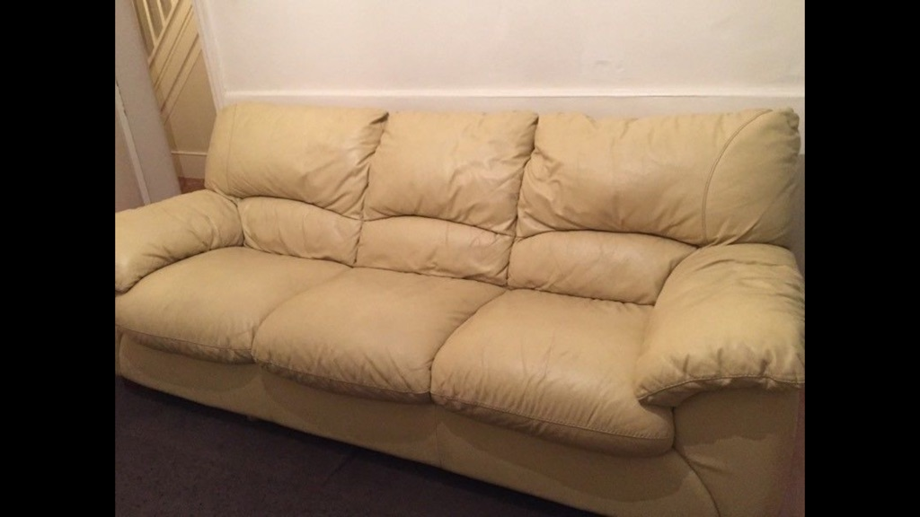 4 piece suite leather sofas