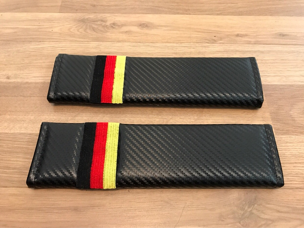 2X Seat Belt Pads Carbon Gift Germany Flag Flagge BMW VW Opel Audi