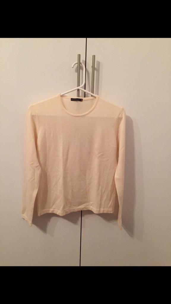 Cream Maurice Abot Lamb's Wool Crew Neck Sweater Medium