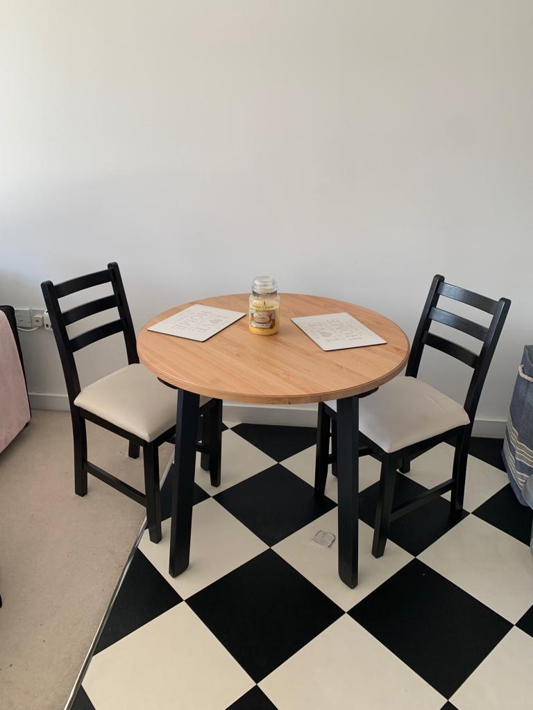 Ikea table and 2 chairs.