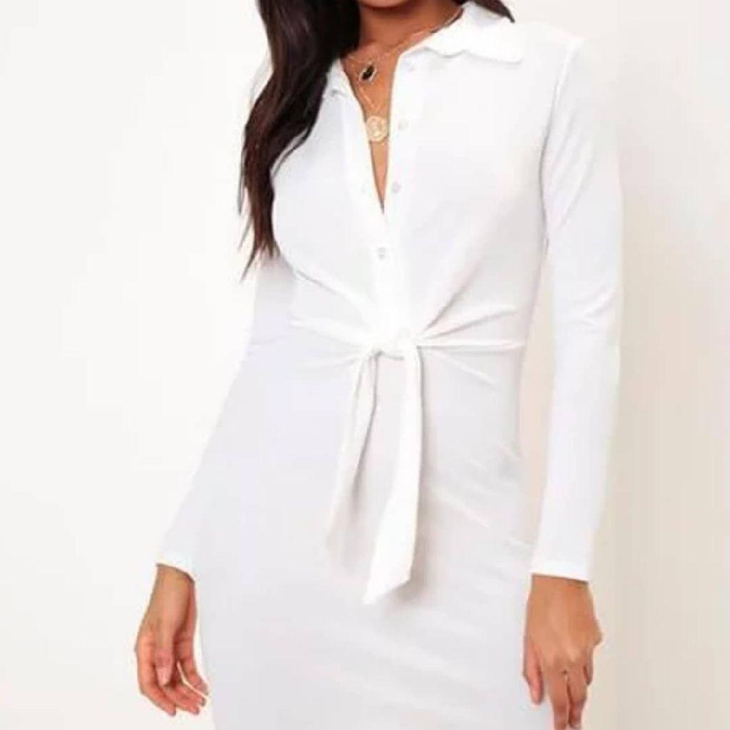 Tie Waist Crepe Shirt Dress