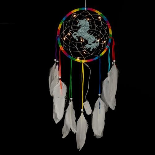 Decorative LED rainbow unicorn dreamcatcher