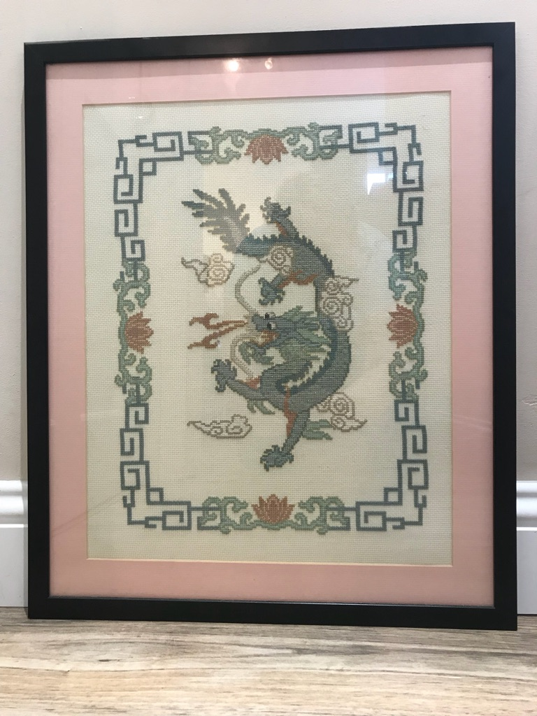 Imperial Dragon & Imperial Phoenix hand made cross stitch