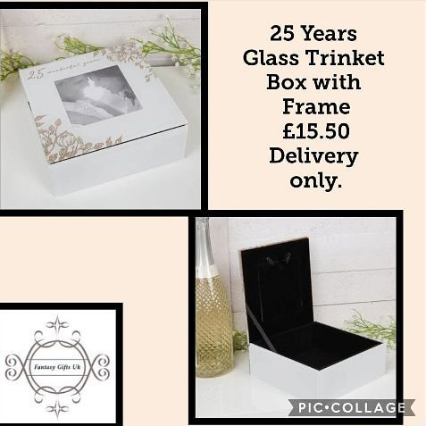 25 Years Glass Trinket Box with Frame