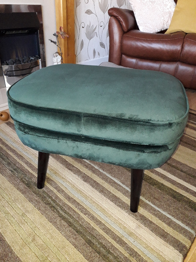 Green Velvet Foot Stool