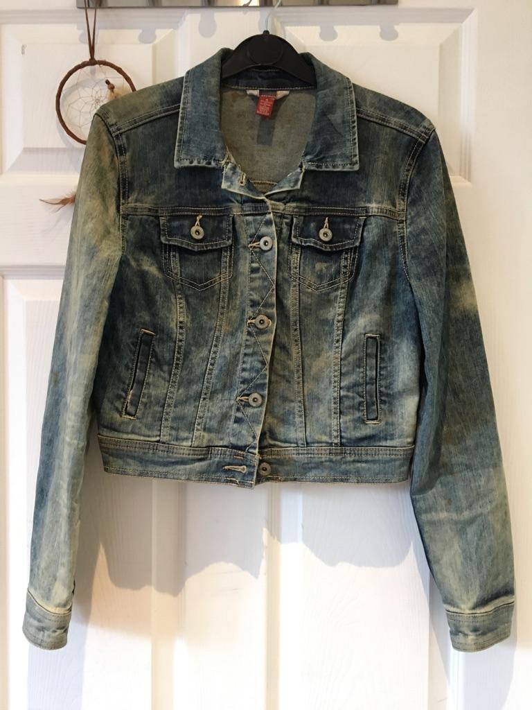 Stone- washed denim jacket size 8