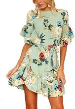 Floral print mini dress round neck with half flared sleeves- green