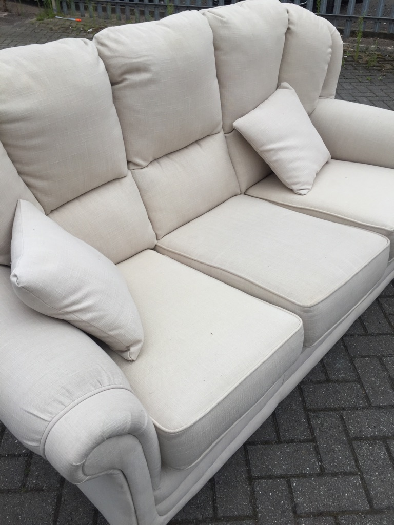 Sofa 3-1 white & chair
