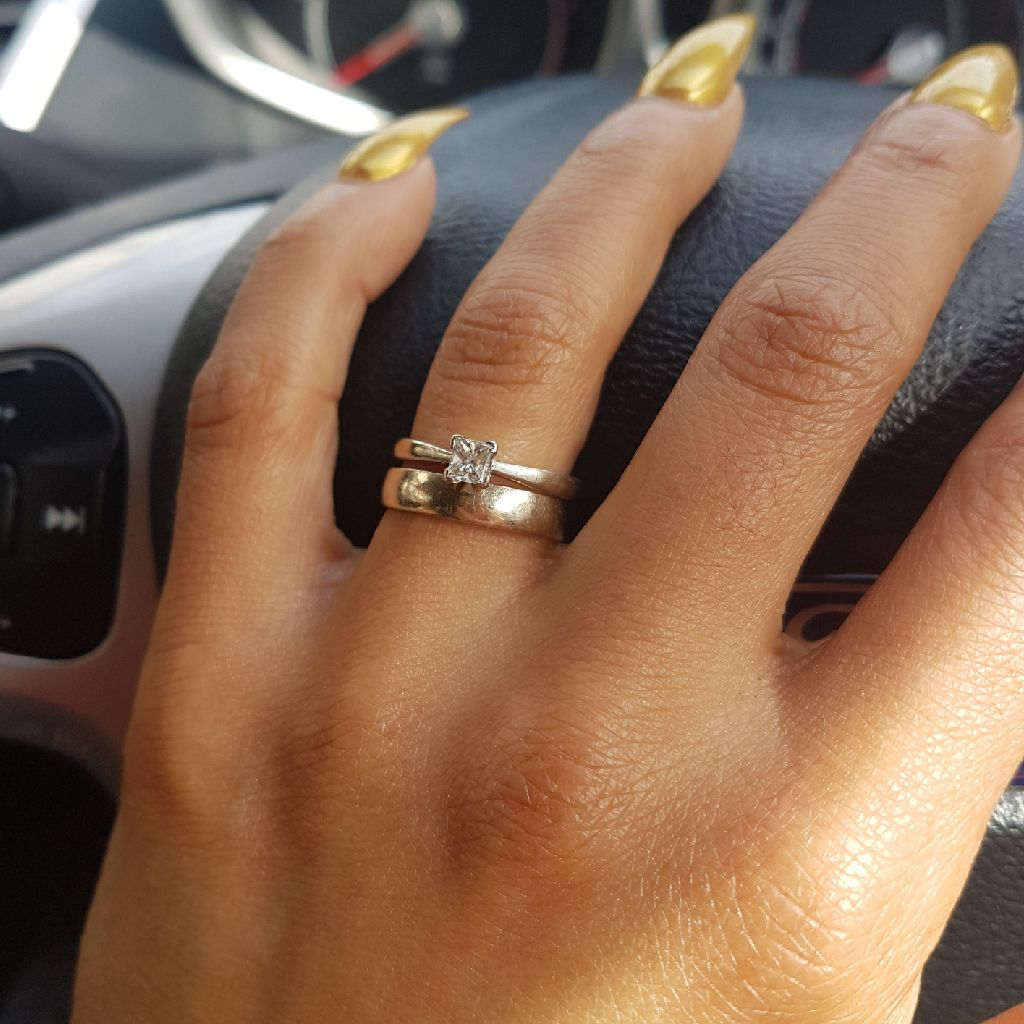 Diamond and white gold wedding engagement ring combo