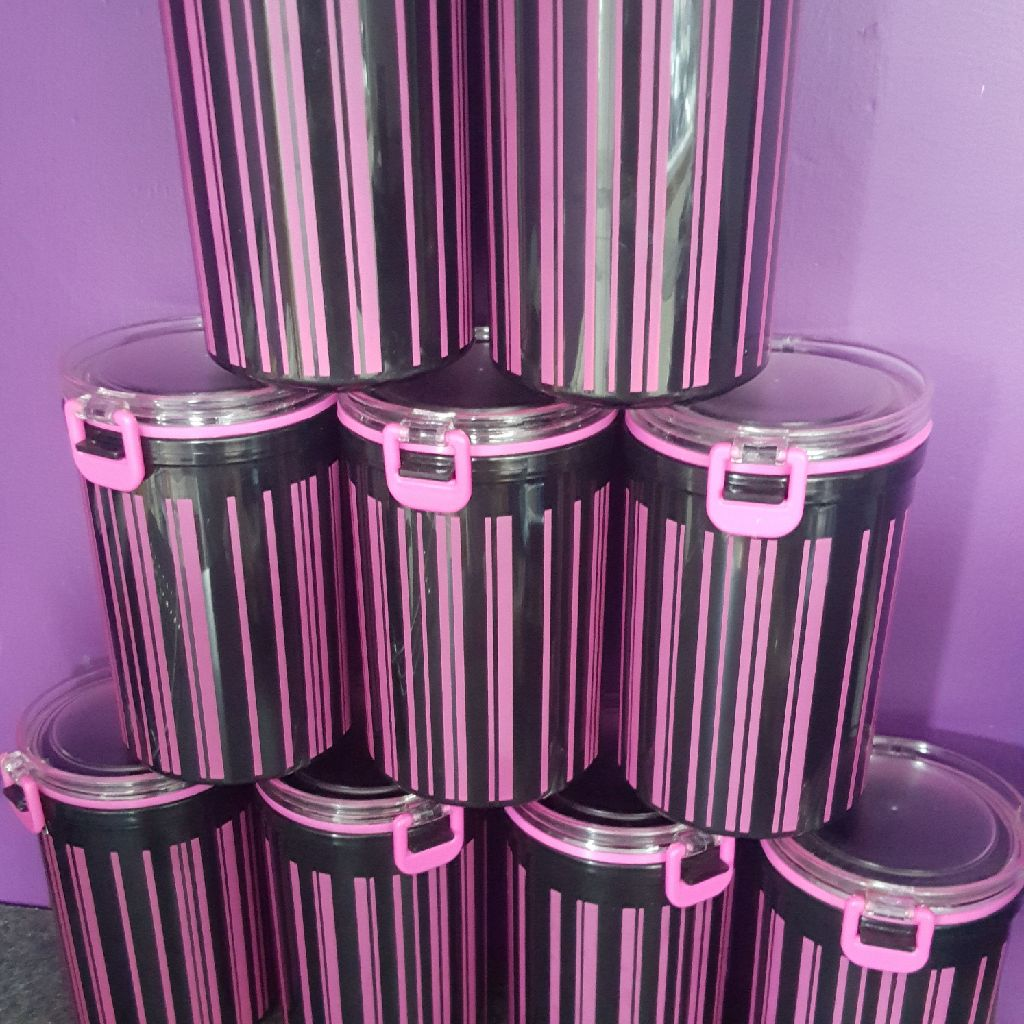 Black and purple canisters