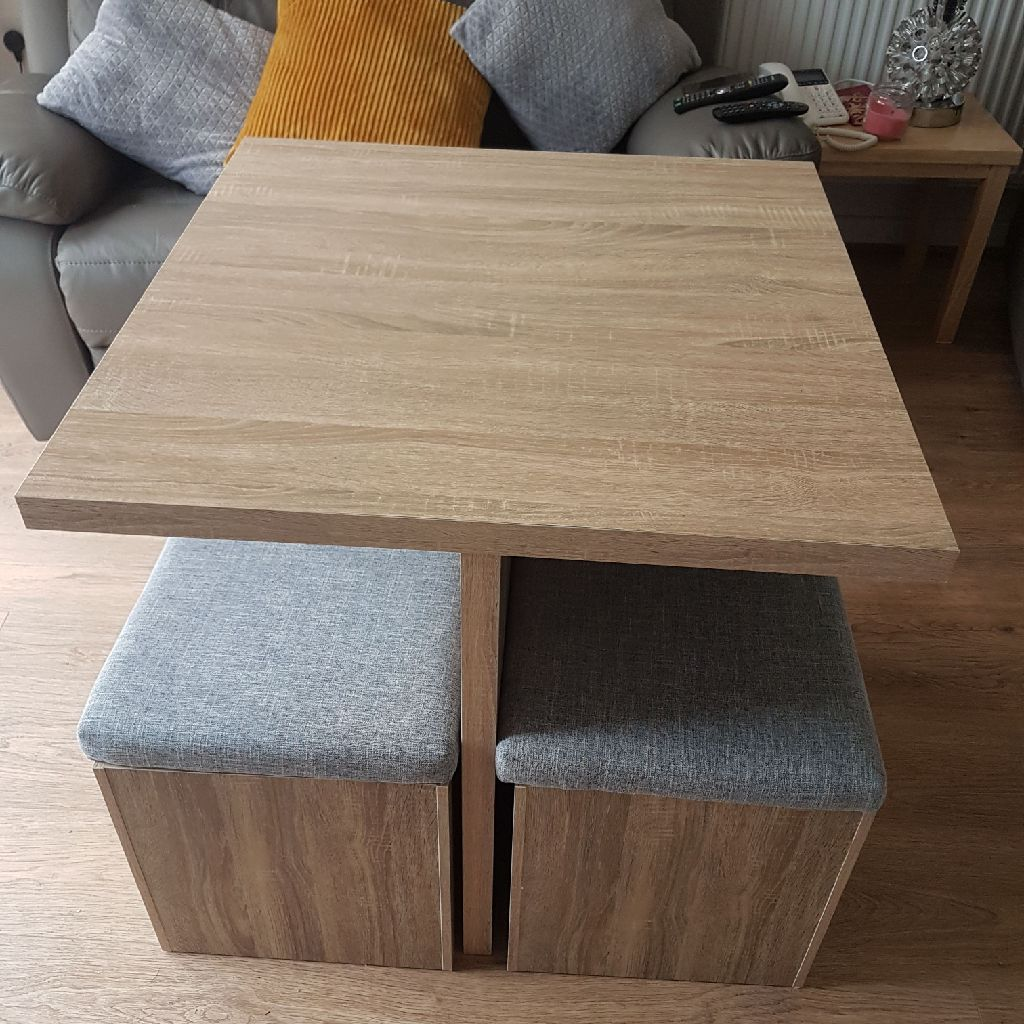 Oak squaredining table with storage seats