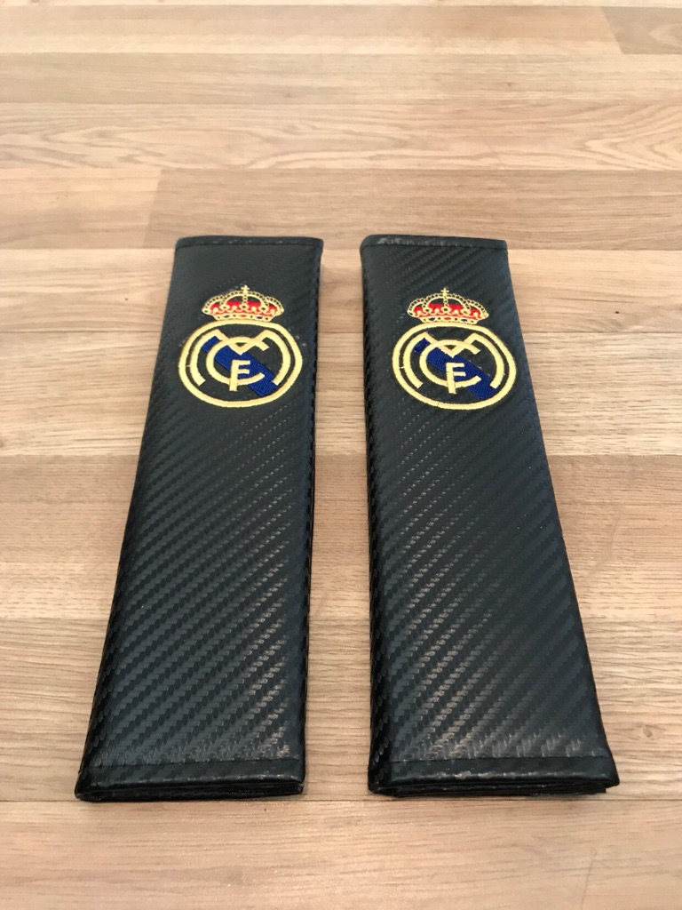 2X Seat Belt Pads Carbon Gift Spain Real Madrid Football Team Cup Stadium