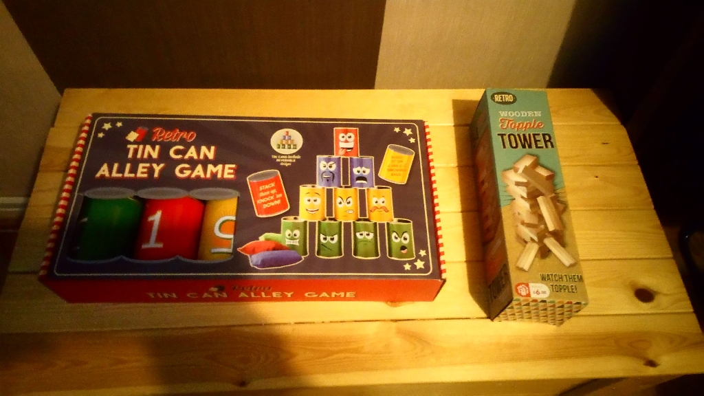 Tin Can Alley Game & Wooden Topple Tower