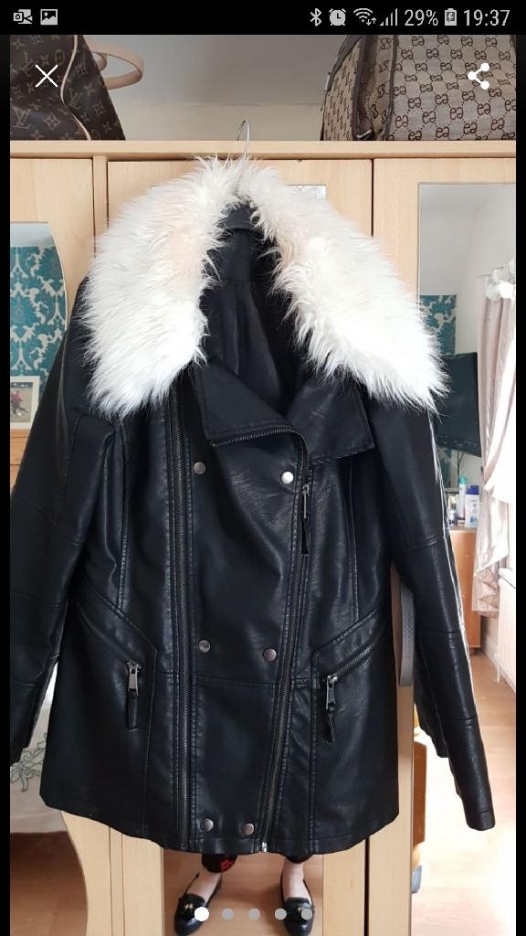 Black Faux Leather Jacket Size 12