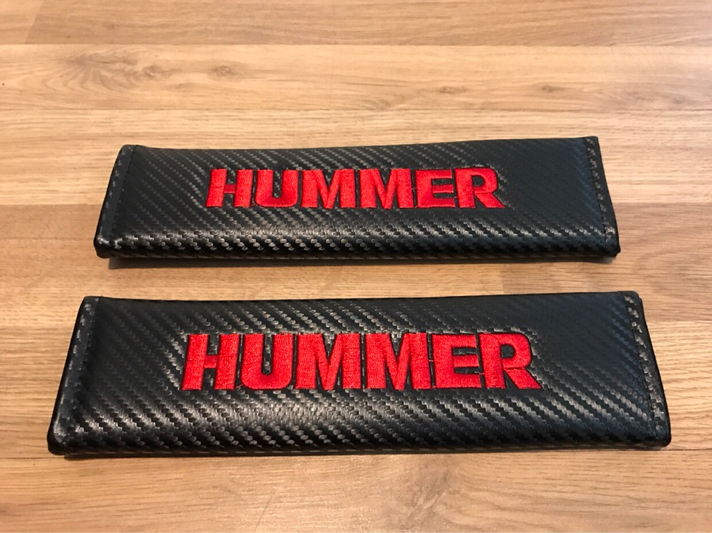 2X Seat Belt Pads Carbon Gift Hummer H1 H2 H3 Luxury SUV BHP