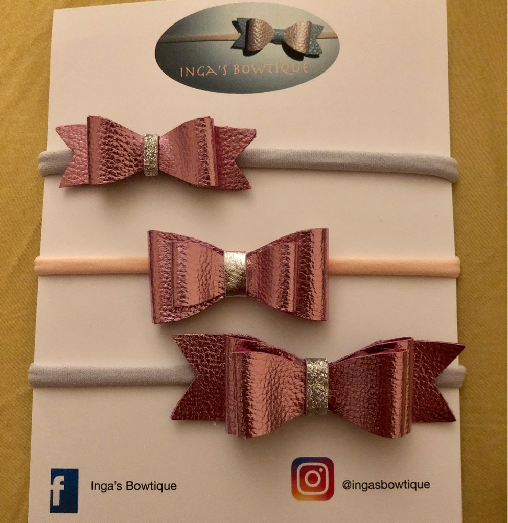 Handmade Pink Metallic Bows Nylon Headbands Set of3
